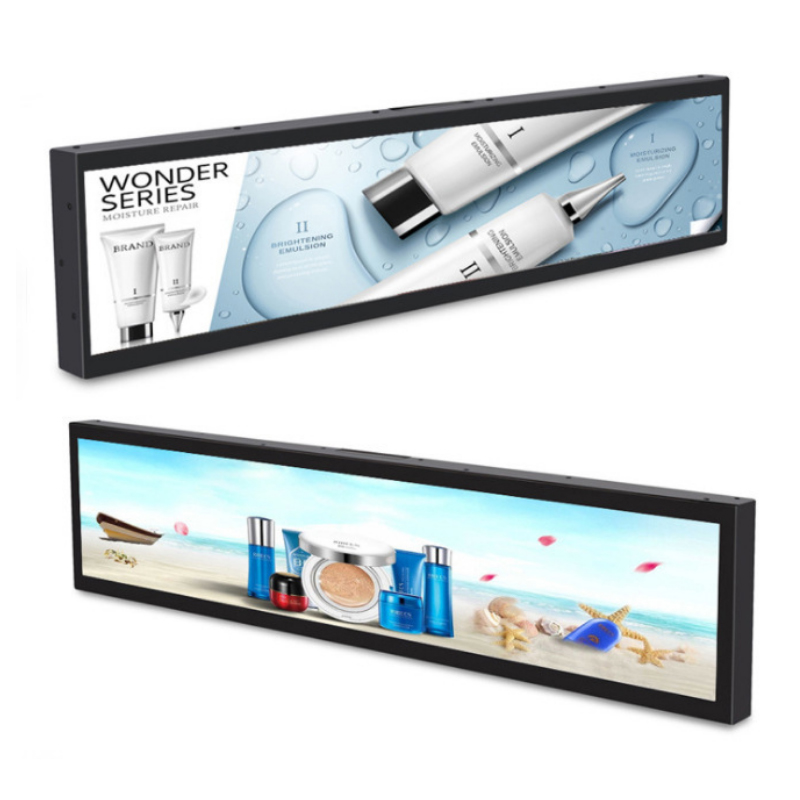 Supermarket digital poster stretched bar LCD display long shelf video strip Featured Image