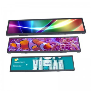 KER factory cutomized  Lcd Advertising Shelf Display Video Strip Stretched LCD Display